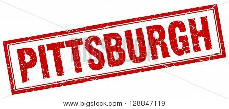 Pittsburgh red square grunge stamp on white