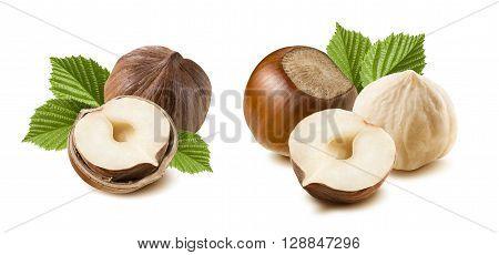 Double combo hazelnut nut set leaves isolated on white background as package design element