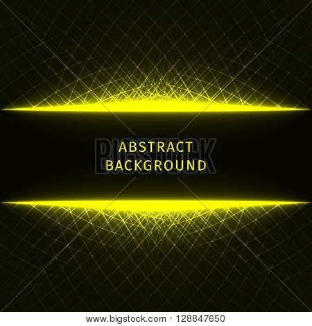Abstract lights yellow strips on dark background