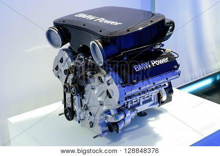 Munich Germany April 19 2016 - BMW museum. Engine of sport BMW car.