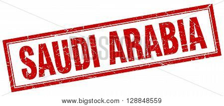 Saudi Arabia red square grunge stamp on white