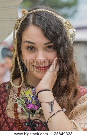 Portrait Of A Young Woman In Medieval Costume