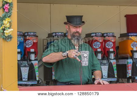 Man With Medieval Costume, Selling Drinks