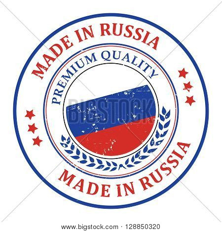 Made in Russia grunge printable label, with Russian flag colors and map. CMYK colors used.