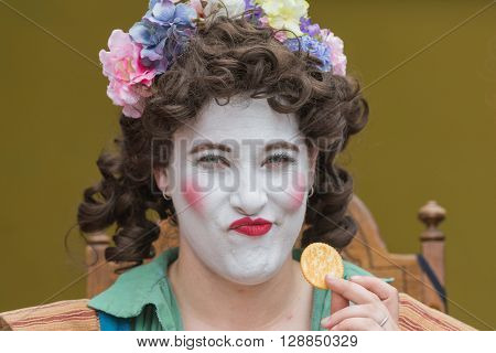 Woman With Painted Face And Medieval Costume