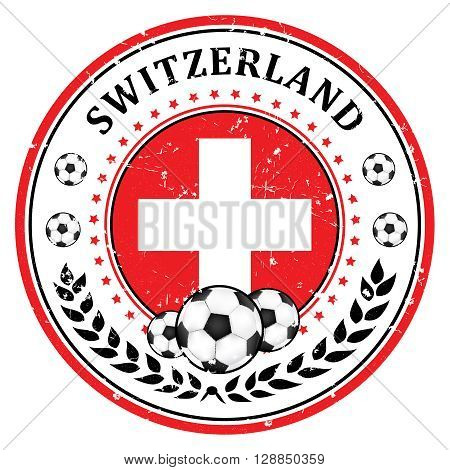 Switzerland soccer team sign, containing a soccer ball and the Swiss flag. Print colors used