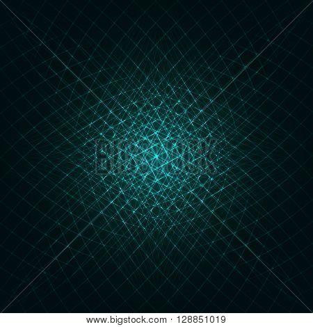 Abstract lights aqua strips on dark background