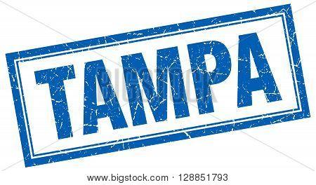 Tampa blue square grunge stamp on white