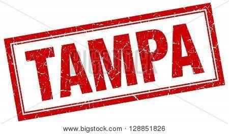 Tampa red square grunge stamp on white