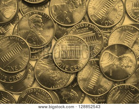 Dollar Coins Background - Vintage