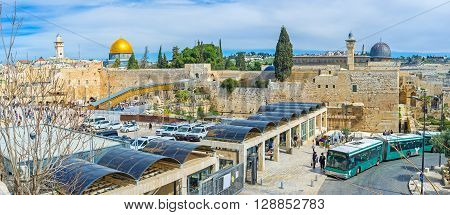 JERUSALEM ISRAEL - FEBRUARY 18 2016: The checkpoint giving acsess to the Western Wall Square and the Temple Mount Complex on February 18 in Jerusalem.