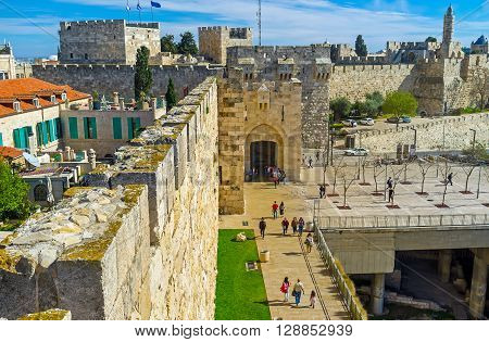 JERUSALEM ISRAEL - FEBRUARY 18 2016: The view on the Jaffa Gate and David's fortress from the high city ramparts on February 18 in Jerusalem.
