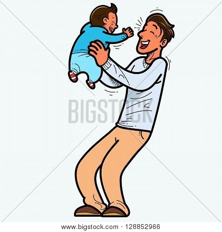 Vector illustration of Father and son laughing