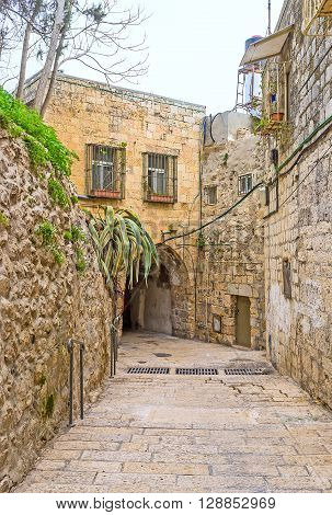 The scenic medieval street in heart of Armenian Quarter of Jerusalem Israel.