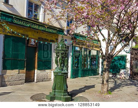 Paris France-May 05 2016 : The famous bookstore Shakespeare and company was featured in the Richard Linklater film Before Sunset and in Woody Allen's Midnight in Paris.