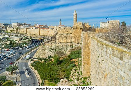 The massive ramparts and legendary David's Tower are the proud of Jerusalem Israel.