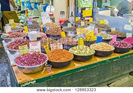 JERUSALEM ISRAEL - FEBRUARY 17 2016: The traditional Eastern herbal beverages (tea) include herbs dried fruits flowers nuts and spices those make the beverage tasty flavoured and refreshing on February 17 in Jerusalem.