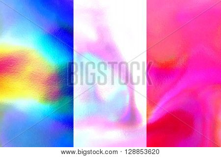 A holographic French flag background or texture.