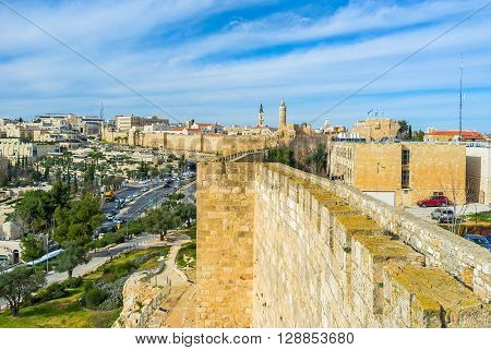 The Bonei Yerushalayim garden located at the foot of the huge city walls of Jerusalem Israel.