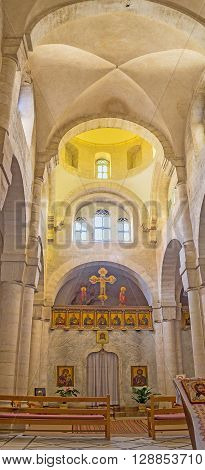 JERUSALEM ISRAEL - FEBRUARY 18 2016: The interir of St Veronica's church that became the station of Via Dolorosa on February 18 in Jerusalem.