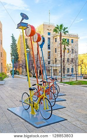 JERUSALEM ISRAEL - FEBRUARY 18 2016: The interesting urban installation in Safra Square with many cycles on February 18 in Jerusalem.