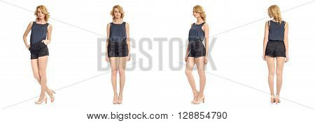 Full Length Portrait Of Beautiful Woman In Sexy Shorts Isolated