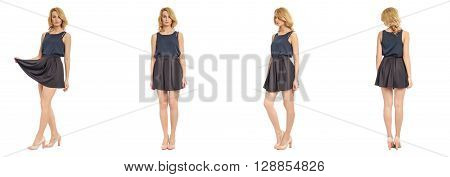 Full Length Portrait Of Beautiful Woman In Sexy Skirt Isolated