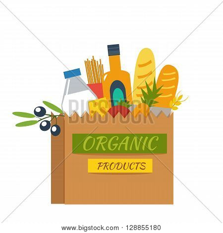 Fresh organic products in paper package. Supermarket products concept. Vector illustration on white background.