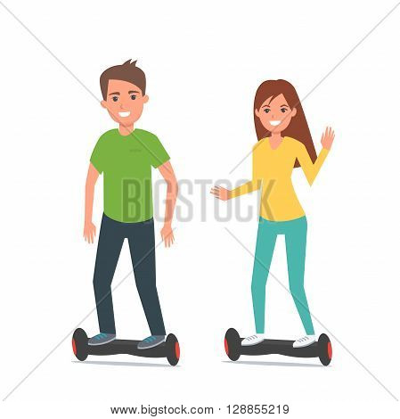 Man and woman on electric scooters. Self-balancing two wheeled electric Scooter. Vector illustration.