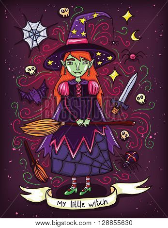 Cute little witch in purple dress. Illustration about witches holidays of or Helloween. Witchcraft everywhere.