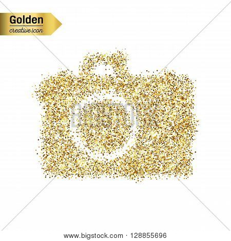 Gold glitter vector icon  of photo camera isolated on background. Art creative concept illustration for web, glow light confetti, bright sequins, sparkle tinsel, abstract bling, shimmer dust, foil