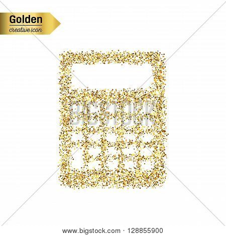 Gold glitter vector icon of calculator isolated on background. Art creative concept illustration for web, glow light confetti, bright sequins, sparkle tinsel, abstract bling, shimmer dust, foil