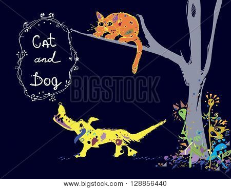 Illustration of a dog barking on a cat, sitting high on a tree , isolated  hand drawn image in primitive manner