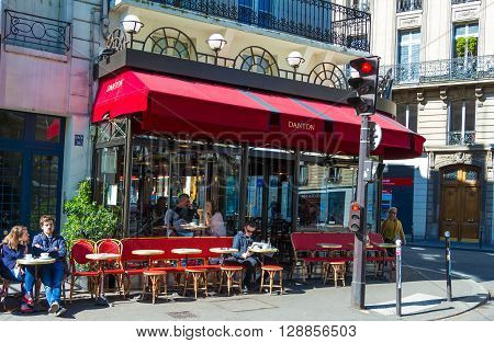 Paris France-May 05 2016 : The traditional French cafe Danton located on boulevard Saint Germain in Odeon quarter of Paris.