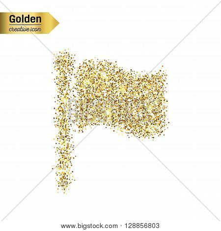 Gold glitter vector icon of flag isolated on background. Art creative concept illustration for web, glow light confetti, bright sequins, sparkle tinsel, abstract bling, shimmer dust, foil