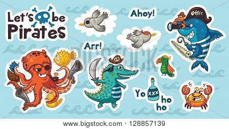 Let is be pirates. Collection of stickers with pirates in cartoon style. Cartoon underwater pirates set sticker with crocodile, octopus, shark, crab, seagulls, and a parrot. Vector illustration
