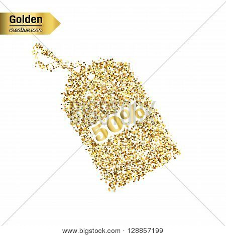Gold glitter vector icon of tag discounted isolated on background. Art creative concept illustration for web, glow light confetti, bright sequins, sparkle tinsel, abstract bling, shimmer dust, foil