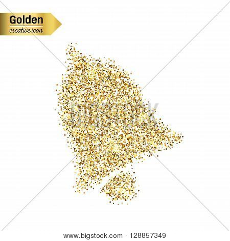 Gold glitter vector icon of bell isolated on background. Art creative concept illustration for web, glow light confetti, bright sequins, sparkle tinsel, abstract bling, shimmer dust, foil