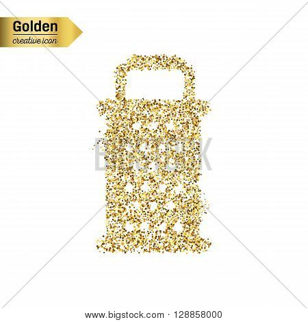 Gold glitter vector icon of grater isolated on background. Art creative concept illustration for web, glow light confetti, bright sequins, sparkle tinsel, abstract bling, shimmer dust, foil.