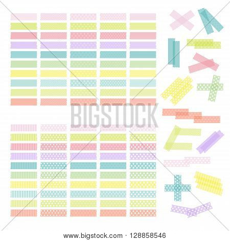 Collection Of Colorful Adhesive Tape Or Stickers. Set Of Washi Tape Strips