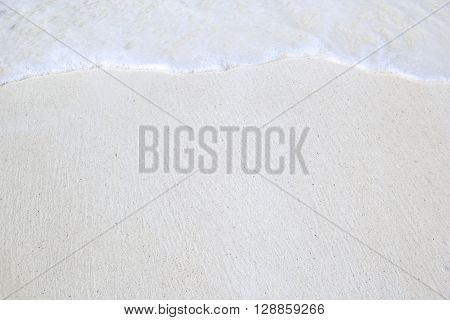 Close-up Of White Tropical Beach With Waves