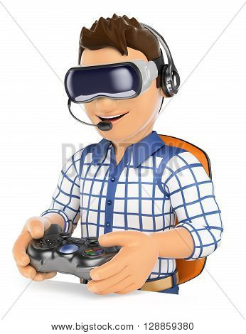3d young people illustration. Young gamer playing with virtual reality glasses and gamepad. VR. Isolated white background.