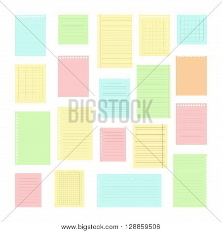 Collection Of Various Note Papers For Your Message. Set Of Different Color Note Papers