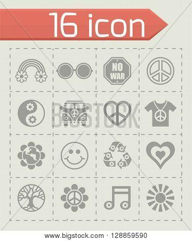 Vector Hippie icon set on grey background