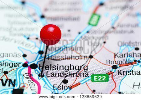 Landskrona pinned on a map of Sweden