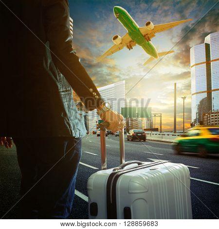 land transport with sun set urban scene use for city life background backdrop