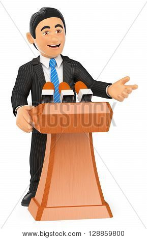 3d business people illustration. Businessman lecturing. Conference. Isolated white background.