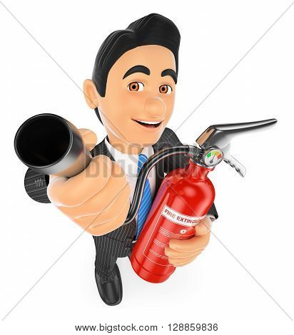 3d business people illustration. Businessman with a fire extinguisher. Occupational risk prevention. Isolated white background.
