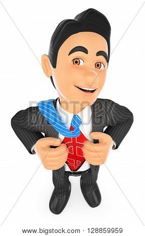 3d business people illustration. Businessman ripping off his shirt with money sign. Isolated white background.