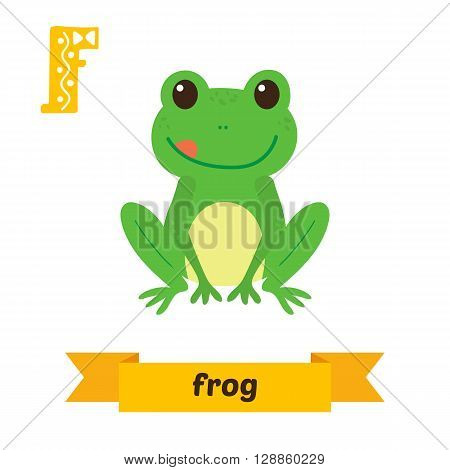 Frog. F Letter. Cute Children Animal Alphabet In Vector. Funny Cartoon Animals